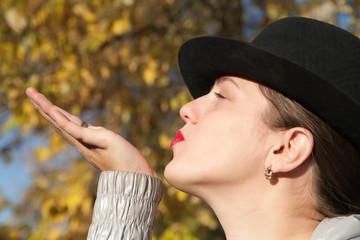 Air-kissing girl