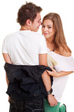 pretty girl undressing her boyfriend poster