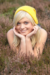 Young caucasian blonde in heather