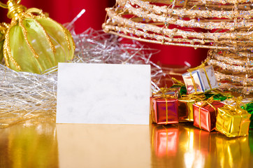 Modern Christmas items with blank paper to write