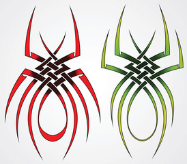 Set of templates of spiders for tattoos and design