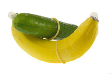 Banana and cucumber in condoms