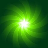 Vibrant green light burst background with shiningcenter star poster