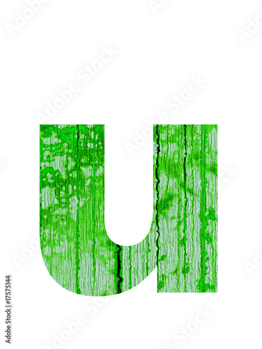 high resolution green and old u font isolated on white