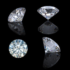 3d Round brilliant cut diamond perspective isolated on black