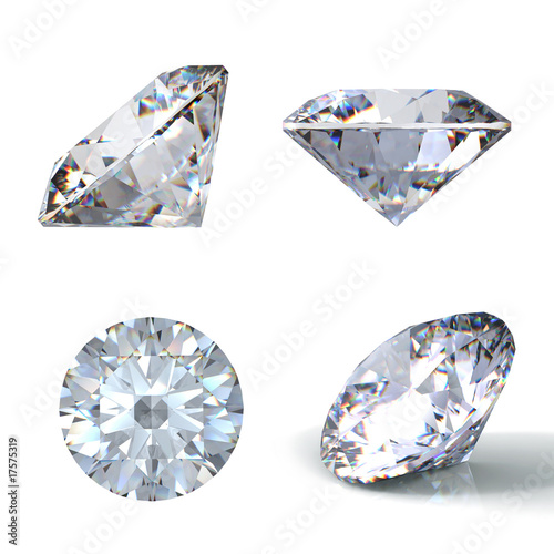 3d Round brilliant cut diamond perspective isolated on white