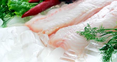Fresh sturgeon fish filler decorated on white background