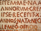 Ancient Roman Latin script from a tomb poster