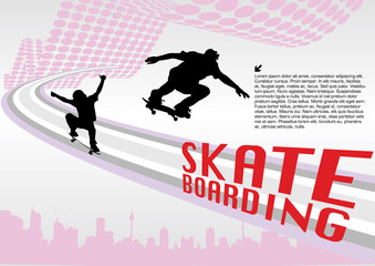 skate boarding vector composition