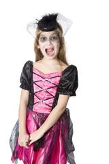 girl in carnival fancy dress on the eve of  Halloween