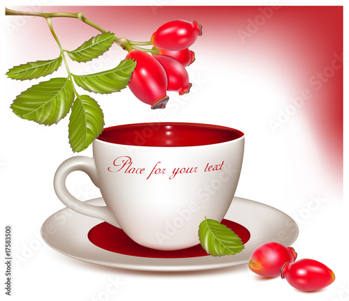 Vector illustration. Cup of tea and ripe rose hip .