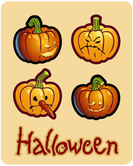 halloween's drawing - four pumpkin heads of Jack-O-Lantern
