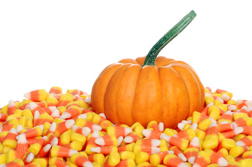 pumpkin with candy corn