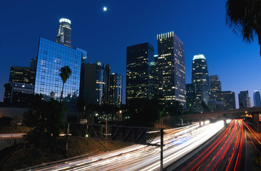 Downtown Los Angeles Freeway at night