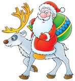 Santa Claus riding on the reindeer