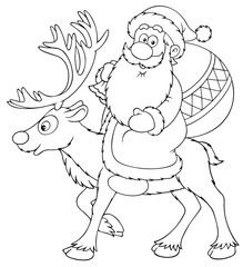 Santa Claus riding on the reindeer (black and white drawing)
