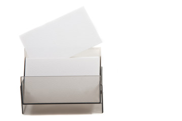 White card on a box (space for text)