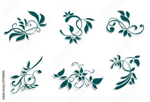 Keuken foto achterwand Vlinders in Grunge Flourish decorations