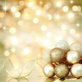 Christmas decoration on defocused lights background poster