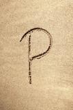 Alphabet letter P handwritten in sand poster