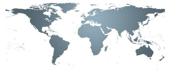 Carte du monde grise - planishère détaillé