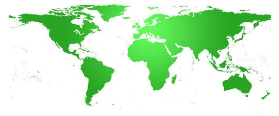 Carte du monde verte - planisphère détaillé
