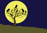 ravens on the rampike at night poster