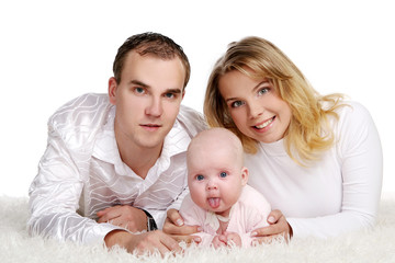 a happy family with young baby