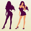 Vector silhouette of sexy woman
