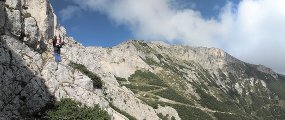 on a route to Karl Ludwig mountain hut in Rax Alps