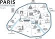PLAN TOURISTIQUE PARIS- Monuments - France - Set 3