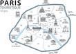 Quadro PLAN TOURISTIQUE PARIS- Monuments - France - Set 3
