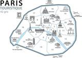PLAN TOURISTIQUE PARIS- Monuments - France - Set 3