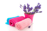Rolled towels with lavender sprigs
