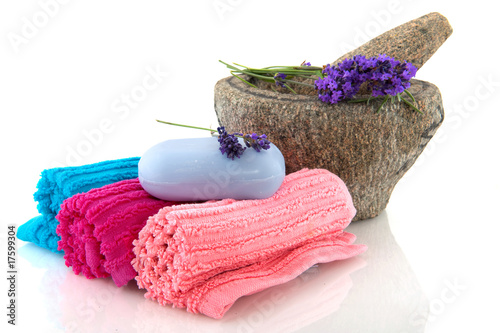 Rolled towels with lavender soap
