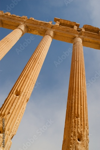 Lower view of an ancient colonnade in Palmyra, Syria