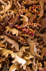 Wooden safari animal figurine pattern