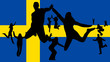 Flag of sweden and people jumping