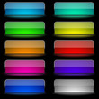 Vector set of varicolored glowing rectangular buttons.