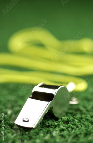 Whistle laying on green astroturf