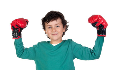 Winner boy with boxing gloves