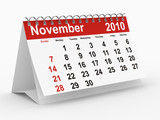 2010 year calendar. November. Isolated on white poster