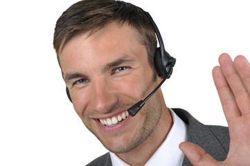 businessman in headphones with a microphone