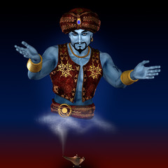 Genie from lamp. 3D render. Illustration.