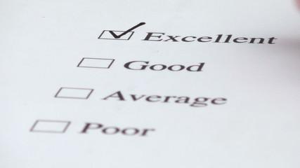 Customer service survey checkbox EXCELLENT V3 - HD