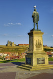 Statue of Captain James Cook , Whitby, England poster