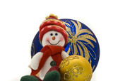 Cute Cuddly Christmas toy with colorful New Year Balls poster