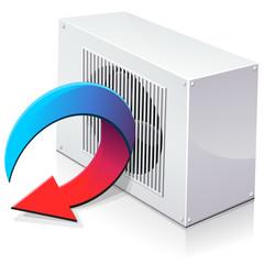 Pompe à chaleur réversible en mode climatisation (reflet)