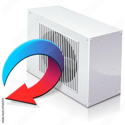 pompe chaleur r versible en mode climatisation reflet from onidji royalty free vector. Black Bedroom Furniture Sets. Home Design Ideas