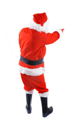 santa claus over white background poiting his finger